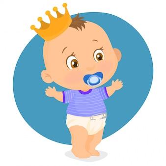 Kleiner junge mit einer krone auf dem kopf