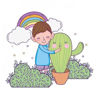 Kleiner junge mit kaktus kawaii charakter