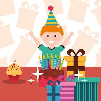 Kleiner junge mit kuchen geschenke und cupcake-feier