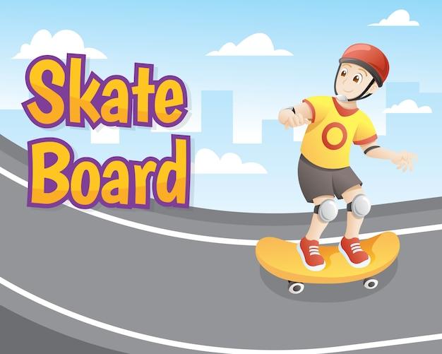 Kleiner junge mit skateboard