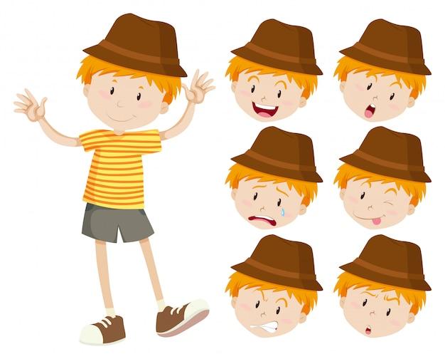 Kleiner junge mit verschiedenen emotionen