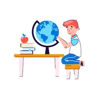 Kleiner junge sitzt am schreibtisch mit büchern und globus flach isoliert