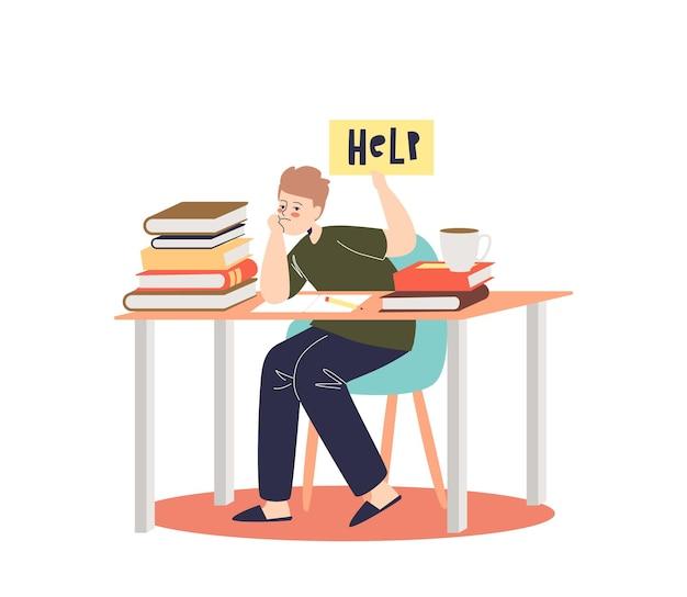 Kleiner junge überwältigt von hausaufgaben, die traurig an der schulbank mit büchern und lehrbüchern sitzen. depressiver schüler lernmüde. karikatur flache illustration