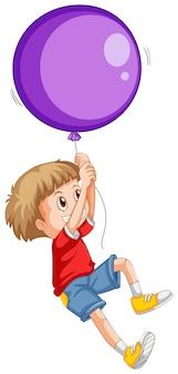 Kleiner junge und lila ballon