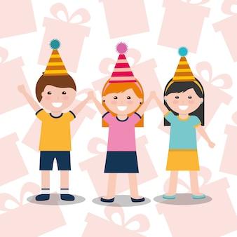 Kleiner junge und mädchen mit partyhutfeier