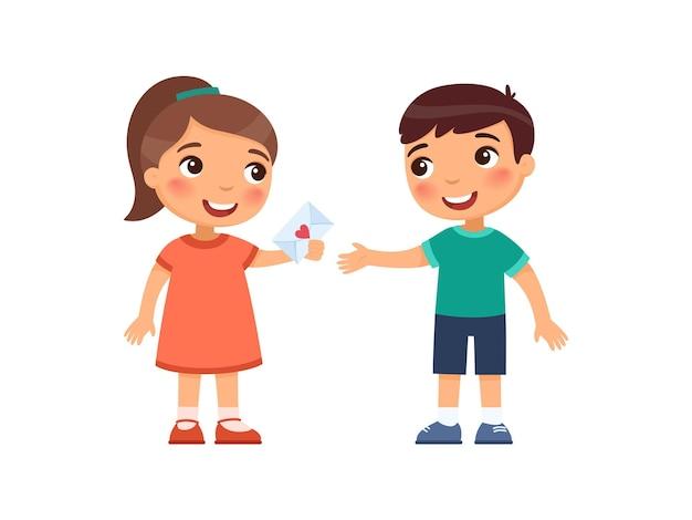 Kleiner junge und mädchen tauschen valentinsgrüße aus erstes liebeskonzept valentinstag in der schule oder im kindergarten kinderpsychologie zeichentrickfiguren
