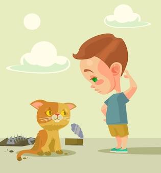 Kleiner junge und obdachlose katze.
