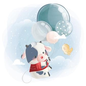 Kleiner kalbsjunge, der mit luftballons fliegt