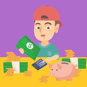 Kleiner kaukasischer junge, der geld zählt.