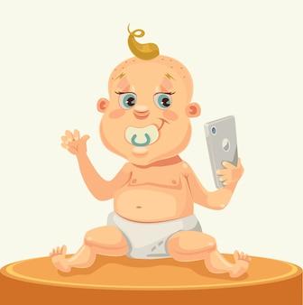 Kleiner kindercharakter mit smartphone. flache karikaturillustration