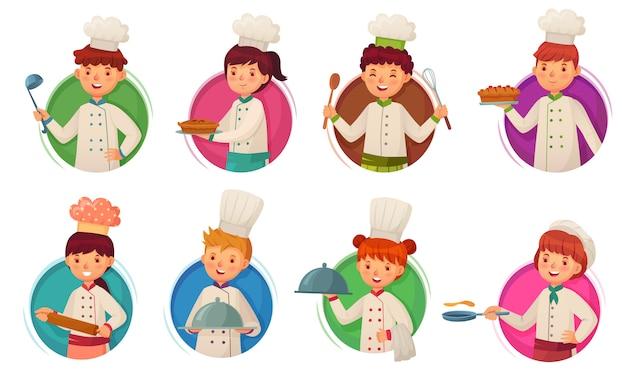 Kleiner kinderkoch. kinder kochen, kinder kocht im kreisrahmen und kinderköche im runden loch-karikaturillustrationssatz