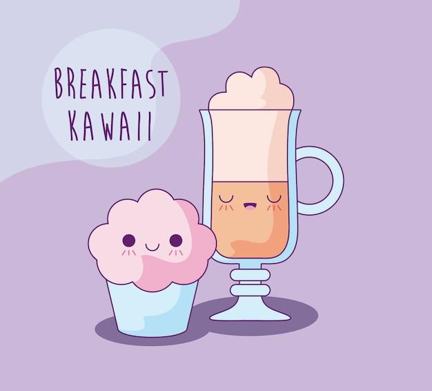 Kleiner kuchen mit kaffeegetränk zum frühstück kawaii art