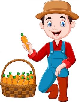 Kleiner landwirt der karikatur, der karotten erntet