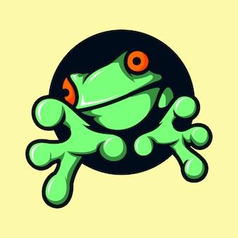 Kleiner lustiger frosch sitzt