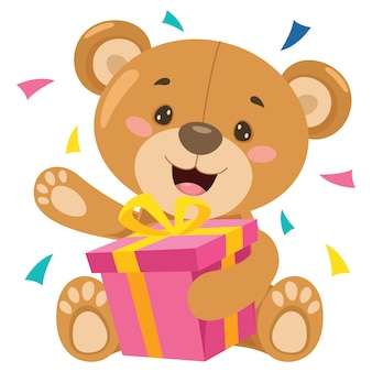 Kleiner lustiger teddybär-cartoon