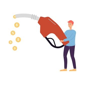 Kleiner mann hält tankpistole mit herausfallenden goldenen münzen, flach