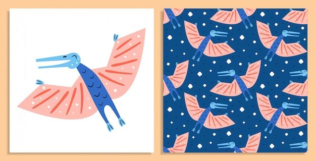 Kleiner niedlicher blauer ornithosaurischer dinosaurier. prähistorische tiere. jura-welt. paläontologie. reptil. archäologie. flache bunte illustration, kunst. dinosaurier nahtloses muster