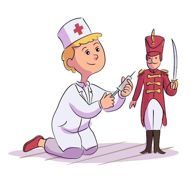 Kleiner niedlicher junge doktor charakter in weißer manteluniform, die injektion zum spielzeugsoldaten tut