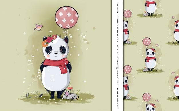 Kleiner panda mit ballonillustration für kinder