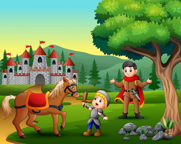 Kleiner ritter, der ein pferd kämpft, um den prinzen zu schützen