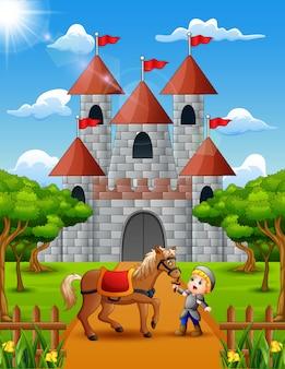 Kleiner ritter und pferd vor dem schloss