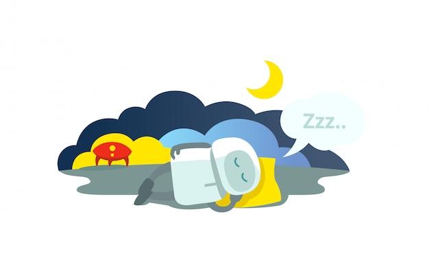 Kleiner roboter schläft auf kissen liegend ist rakete angekommen und schläft. schlafmodus winterschlaf sitzen. metapher - geschlossen.