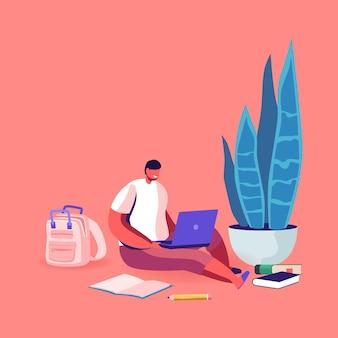 Kleiner schuljunge, der auf boden mit laptop sitzt, der online-webinar beobachtet.