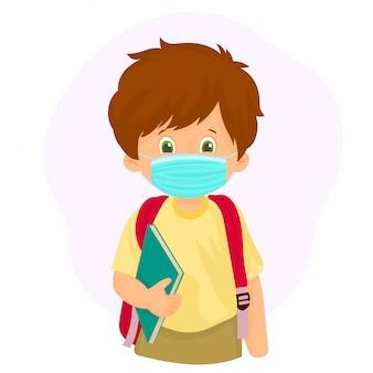 Kleiner schuljunge, der gesichtsmaske trägt. zurück zur schule illustration