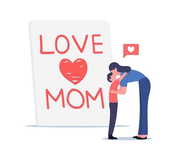 Kleiner sohn umarmt und küssen mutter vor riesiger handgemachter grußkarte mit liebesmama-aufschrift, muttertagsfeier-konzept, liebevollen familienfiguren. cartoon-menschen-vektor-illustration