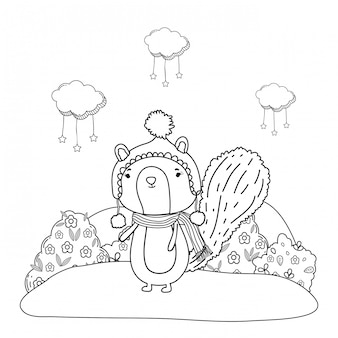Kleiner streifenhörnchen mit hut und schal auf dem gebiet