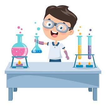 Kleiner student, der chemisches experiment tut