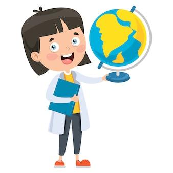Kleiner student, der geographie studiert