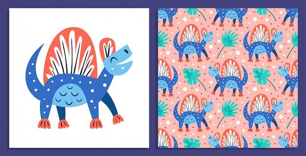 Kleiner süßer blauer dinosaurier. prähistorische tiere. jura-welt. paläontologie. reptil. archäologie. flache bunte illustration