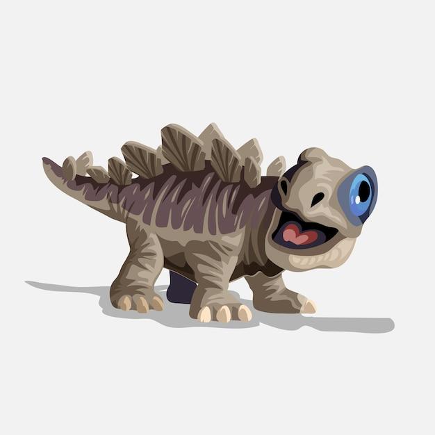 Kleiner süßer brauner stegosaurus. cartoon dinosaurier bild. netter dinosauriercharakter. wohnung lokalisiert auf weißem hintergrund