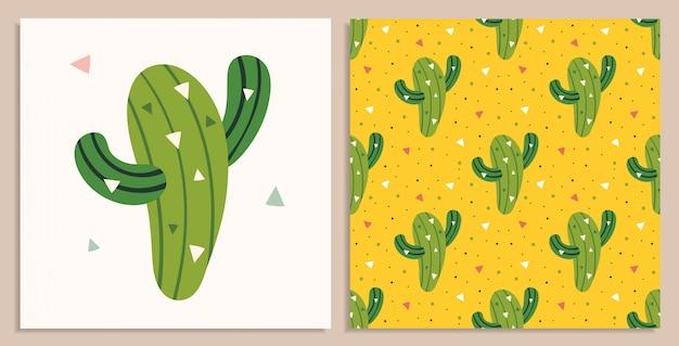 Kleiner süßer grüner kaktus. mexiko-element, wüste. heißes wetter, sommer. flaches buntes nahtloses muster- und illustrationskartenset