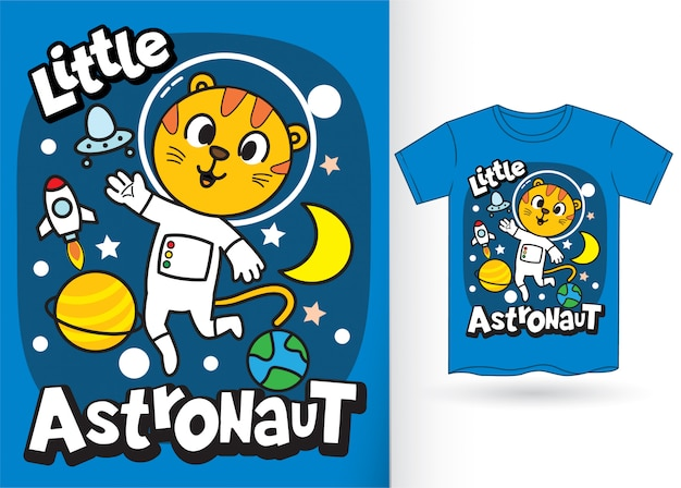 Kleiner tigerastronauten-cartoon für t-shirt