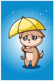 Kleiner trauriger hund unter der regenschirmhandzeichnung