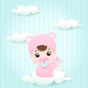 Kleines baby auf einer wolke