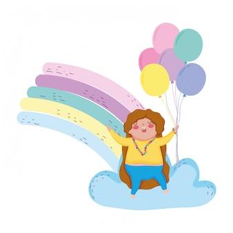 Kleines chubby mädchen mit regenbogen- und ballonhelium