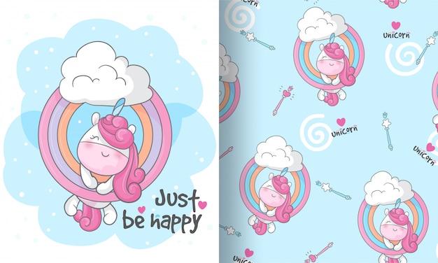 Kleines einhorn auf der nahtlosen musterillustration des himmels für kinder
