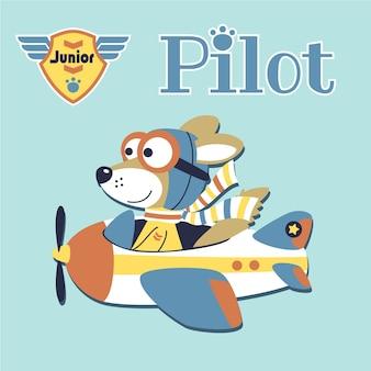 Kleines flugzeug mit niedlichen piloten