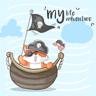 Kleines fuchs piraten hand gezeichnetes tier