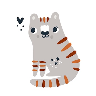 Kleines gebrüll für kinder exotisches tigertier mit gestreiftem fell