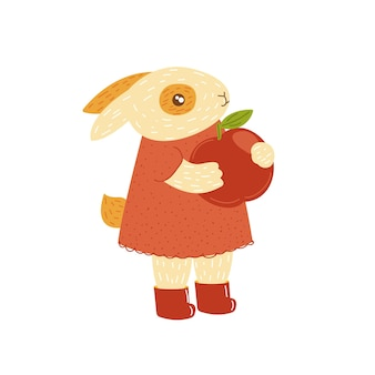 Kleines häschenmädchen niedliches kaninchen hase cartoon handgezeichnetes tier herbstkaninchen mit apfel