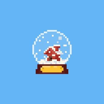 Kleines haus des pixels in der schneekugel.