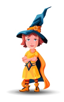 Kleines hexenmädchen steht mit gefalteten händen. kleines zauberermädchen steht mit gefalteten händen. kind als zauberer für halloween verkleidet.