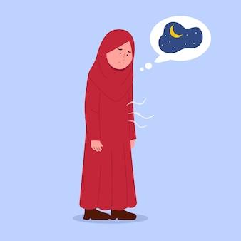 Kleines hijab-mädchen hungrig, das iftar zeit wartet