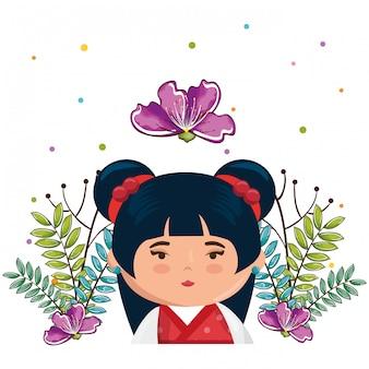 Kleines japanisches mädchen kawaii mit blumencharakter