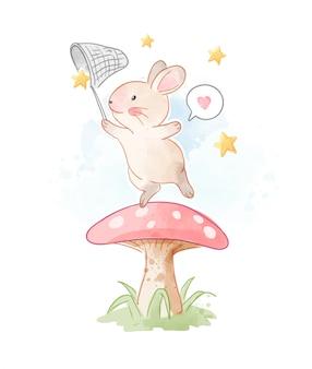Kleines kaninchen, das stern auf pilz-illustration fängt