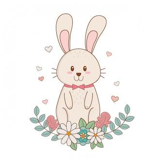 Kleines kaninchen mit blumen ostern charakter